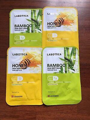 4 Leaders Labotica Skin Soft Masks - 2 Bamboo & 2 Honey Single Use Sheet Mask x4