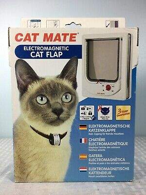 Cat Mate Electromagnetic Lock Cat Flap Door White Model 254W 2 collar Magnets