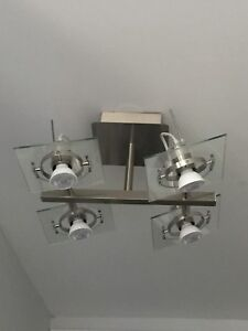 Two Four Light Glass Chandeliers - Brand New