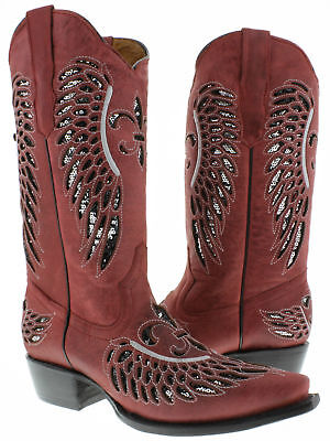 Cowgirl Formal Wear (Womens Red Silver Flower Wings Wear Sequins Leather Cowgirl Boots Pointed)