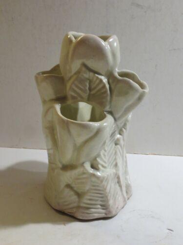Vintage Niloak Arkansas Pottery Mint Green Tulip Vase, Marked