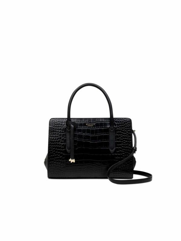 Radley London Black Crocodile Print Leather Shoulder Bag