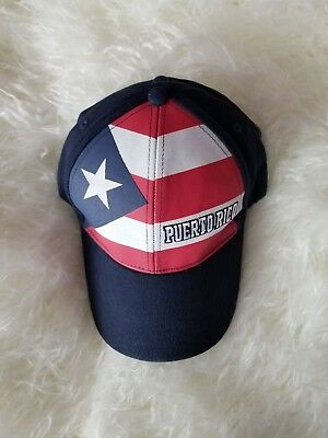 Puerto Rico Flag Cap with mini flag on back of hat. One size fits all.