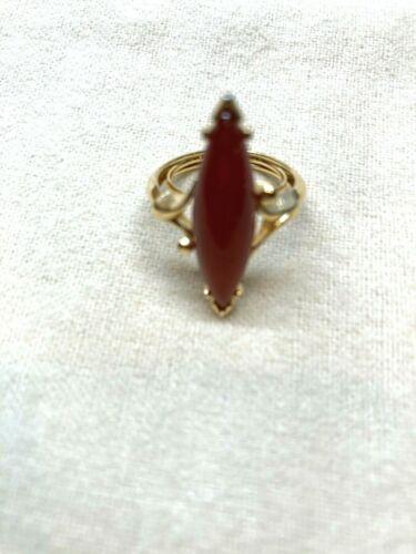 Vintage  Avon Faux Coral Navette Orange Stone Gold Tone Ring - Size (6)