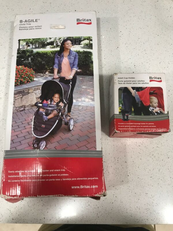 Britax b-agile Stroller Snack Tray + Adult Cup Holder Bundle