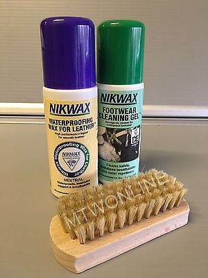 Nikwax Waterproofing Kit For Leather Walking Boots With Cleaning Gel & Brush