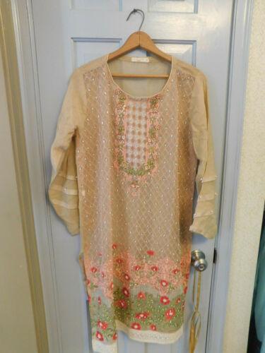 bin saeed Formal Beaded Floral Embroidered pakistani designer Dress Cover Sheer