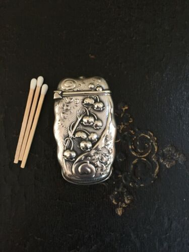 """Sterling Silver """"Lilly of the Valley"""" by Whiting Manufacturing match safe vesta"""