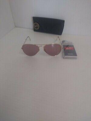 Ray Ban Sonnenbrille RB 3025 Aviator Groß Goldrahmen Pink Gläser Hergestellt in
