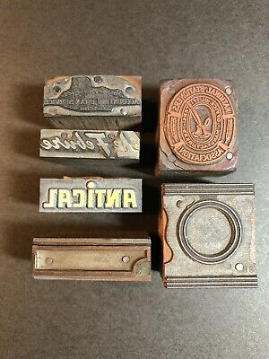 Antique Copper Metal Wood Block Printing Press Plates Antical Le Febvre Lot Of 6