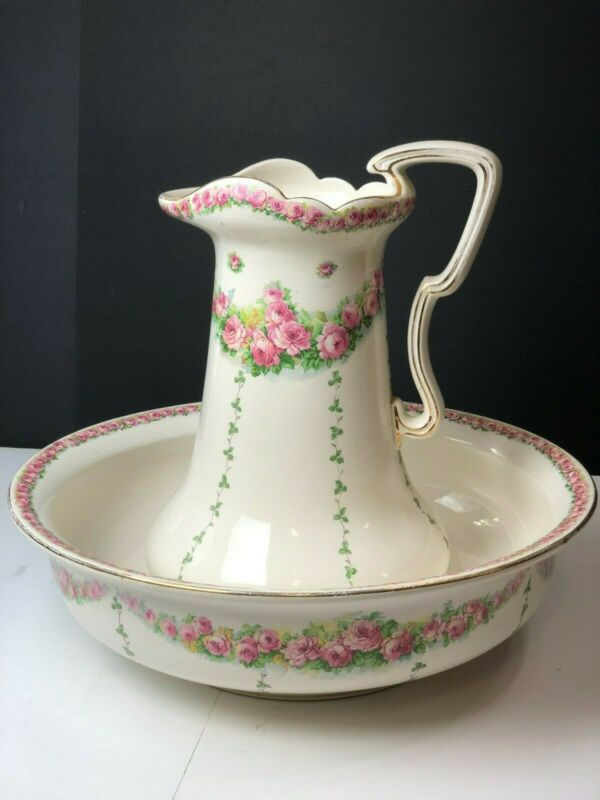 Antique Victorian England 19th Century Rose Pitcher With Large Wash Basin