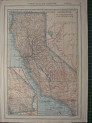 1926 MAP ~ CALIFORNIA PRINCIPAL CITIES & TOWNS SANTA CLARA LOS ANGELES SAN DIEGO