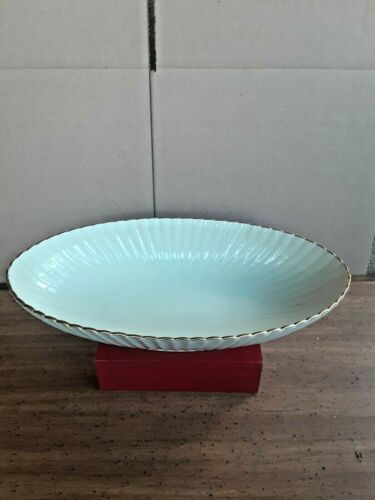 """Lenox 13"""" Footed Serving Dish Bowl Oval Shaped Scalloped Edges 24K Trim"""