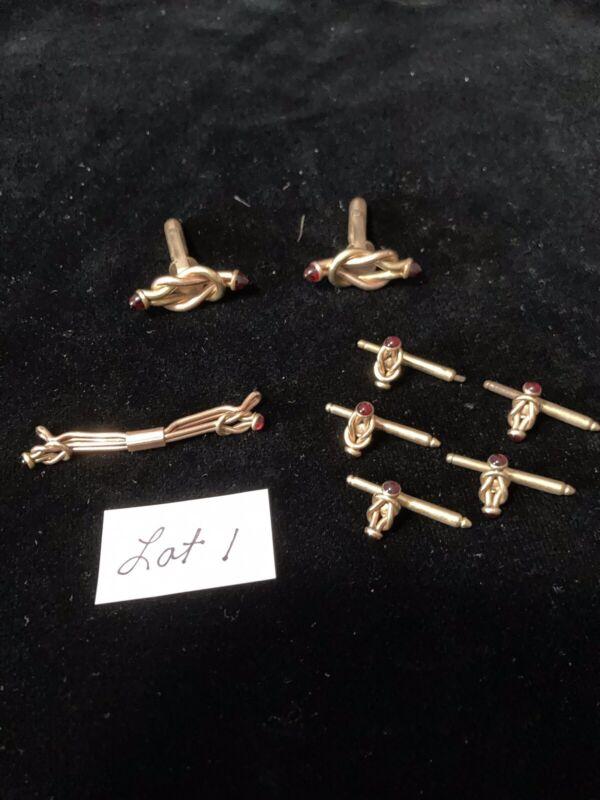 Vintage Cuff Link, Collar Pin and Shirt Studs Set