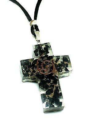 Orgone Cross Generator Black Tourmaline Pendant Copper EMF Coils Cord Necklace