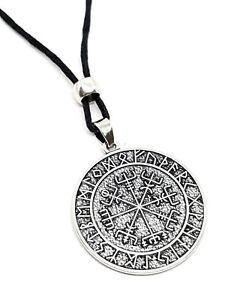 Vegvisir Viking Icelandic Magical Stave Pendant Rune Compass Bead Cord Necklace