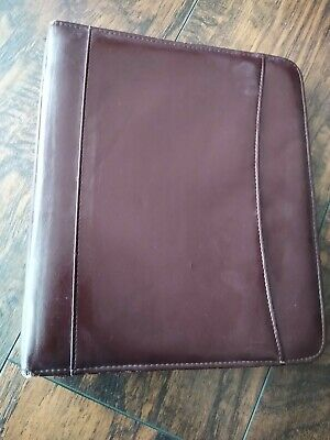 Franklin Covey Day Planner Binder Burgundy Wine Vtg Red Zip Organizer Agenda 7 R