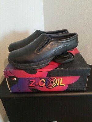 Z-Coil Taos Mules New.  Leather Black Comfort Shoe Slip On~Coils Mens Sz 12