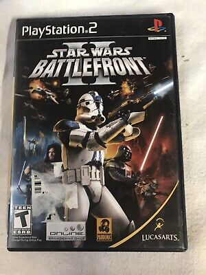 Star Wars Battlefront II Black Label Sony Playstation 2 PS2 Video Game Complete