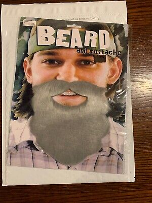 Fake Grey Beard (Gray Fake Beard and Moustache Party Fancy Dress Costume Props)