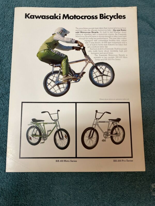 Kawasaki Motocross Bicycles Original Sales Brochure Moto Bike SCARCE!!