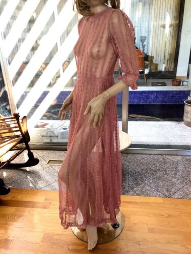 Lim's Vintage All Hand Crochet Puff Sleeve Maxi Dress, Color Rose Size S