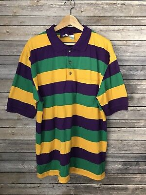 Mardi Gras Louisiana Mens Polo Shirt New Orleans Carnival Striped 2XL Party - Striped Mardi Gras Shirts