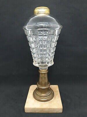 EAPG Boston Sandwich Mass Waffle Pattern Glass Whale Oil Lamp Circa Late 1850