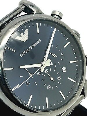 Emporio Armani Men's AR1979 Dark Blue Dial Gunmetal Stainless Steel Quartz Watch