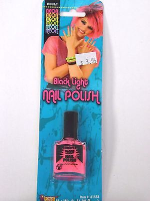 Pink And Black Halloween Nails (Neon Pink Black Light Nail Polish Trick or Treat Halloween)