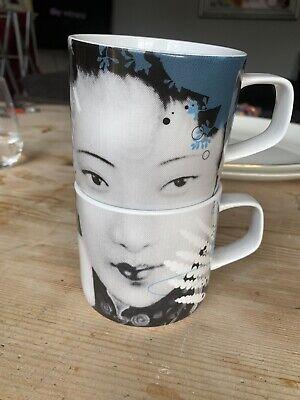 2x Habitat Collection 2005 Akina design by iBride lady face porcelain cup mug