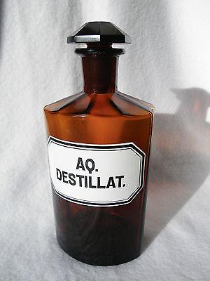 alte große Apothekerflasche braun mit Schliff-Stopfen Aq. destillat. emailliert
