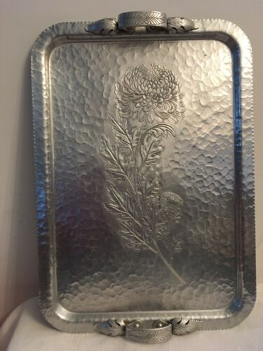 Vintage CONTINENTAL Hand Wrought 574 Large Hammered Aluminum Tray Chrysanthemum