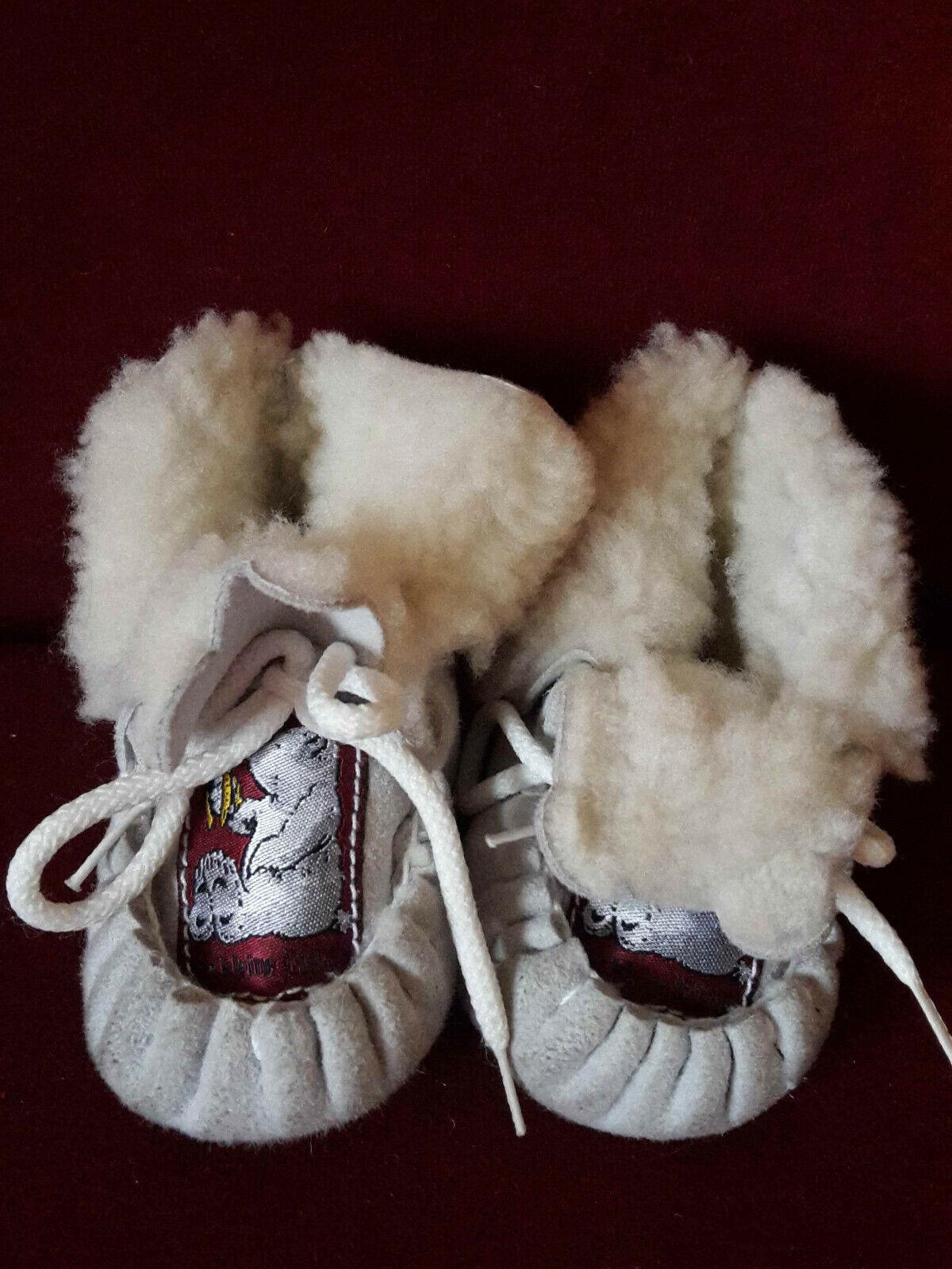 Krabbelschuhe, Babyschuhe unisex, sehr kuschlig, 9,5 cm, Eisbär-Bildchen