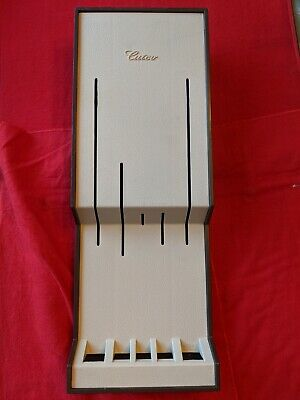 Cutco Kitchen Knife storage Tray #1743 with 5 slots, ivory and brown, circa 1980 Ivory Kitchen Knife