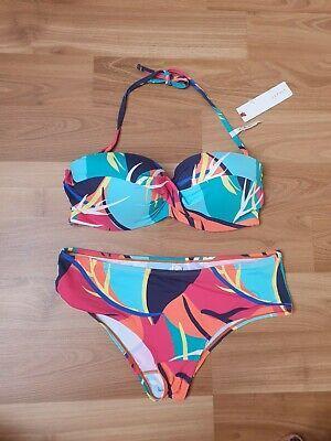 Esprit Bade Schwimm Bikini Set Anzug Oberteil Slip Hipster Gr 38 75 D NEU