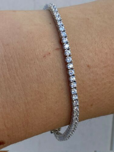 "Real 925 Sterling Silver 2mm Tennis Bracelet Diamond 6-8.5"" Mens Or Ladies Iced"