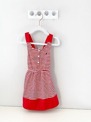 Nautica Red and White Striped Girls Cotton Dress Size 4t