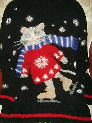 ugly xmas christmas sweater cat walmart commercial rare skating cat xl vintage  ()