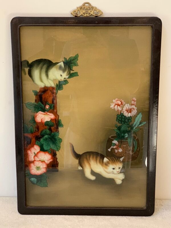 VINTAGE JAPANESE REVERSE PAINTING GLASS TIGER CATS PLAYING W/ FLOWERS