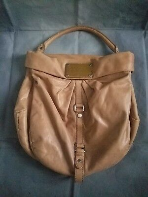 Marc Jacobs Metallic Tote (Marc By Marc Jacobs $428 brown Tan Leather Silver Metal Hobo Purse Tote)