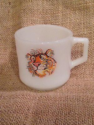 Vtg FIRE KING Tiger ESSO Advertising Mug Cup ~ Anchor Hocking D Handle