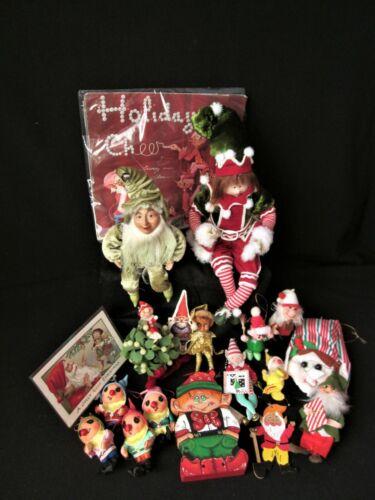 Lot of 19 Vintage Christmas Elf Decor & Ornaments Bill Layne Elf Calendar 1950