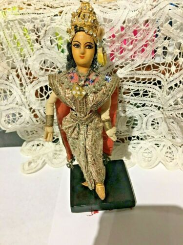 """Vintage Siam Dancing Doll (Thai) Golden Fabric &Hat+ Gold Woven w/ Display 8"""" t"""