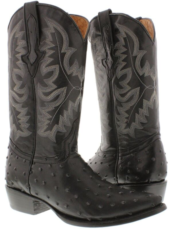 Mens, Black, Ostrich, Quill, Pattern, Western, Cowboy, Boots, Leather, J, Toe