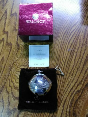 """2005 Wallace Sleigh Bell """"STERLING SILVER"""" ~ Box, Bag & Brochure ~ RARE"""