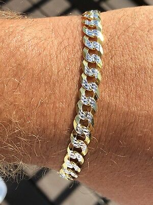 Mens Cuban Bracelet Diamond Cut Two Tone Real 14k Gold & Solid 925 Silver Italy - Gold Mens Diamond Bracelet