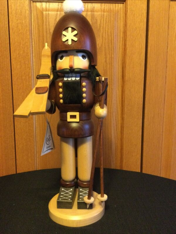 "SIGNED RARE Christian Ulbricht Nutcracker Natural Skier 16"" Tall  SIGNED"