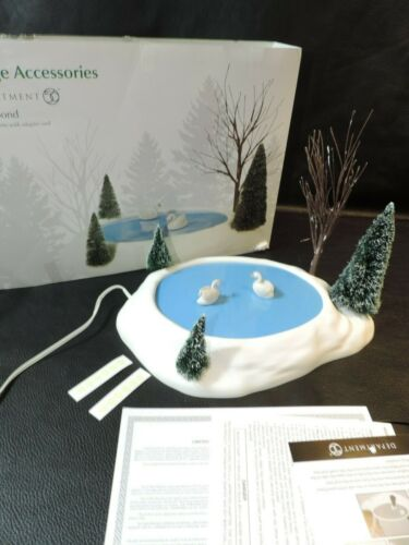 Department 56 Village Swan Pond Animated Accessory with Snowy Trees Used