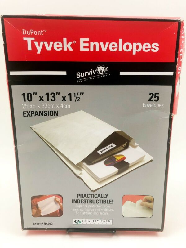"Tyvek Open-End Extra Strong Envelope,Plain,10""x13""x1-1/2"",24/BX,White 24PK New"